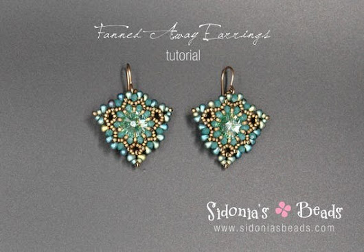 Swarovski Rivolis Earrings Tutorial  Beading Pattern  Fanned