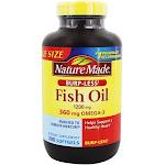 Nature Made Fish Oil BurpLess 1200 mg. 200 Liquid Softgels