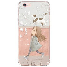 For Etui iPhone 6 / Etui iPhone 6 Plus Ultratynn / Gjennomsiktig Etui Bakdeksel Etui Katt Myk TPU AppleiPhone 6s Plus/6 Plus / iPhone