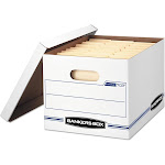 Bankers Box File Storage Box with Lid, White/Blue, 4 Boxes (FEL0070308)