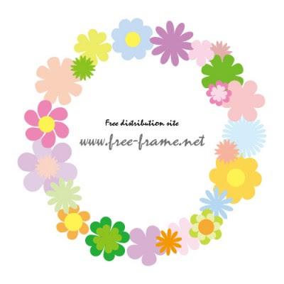 花のイラストを使った丸型フレーム 無料商用可能枠フレーム