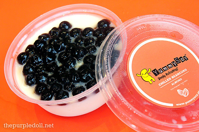 Chilled Beancurd Almond (P85) with Pearls (P10)