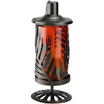 "9.8"" Red and Brown Leaf Cut Design Metal and Glass Oil Lamp with Wick Cover by Christmas Central"