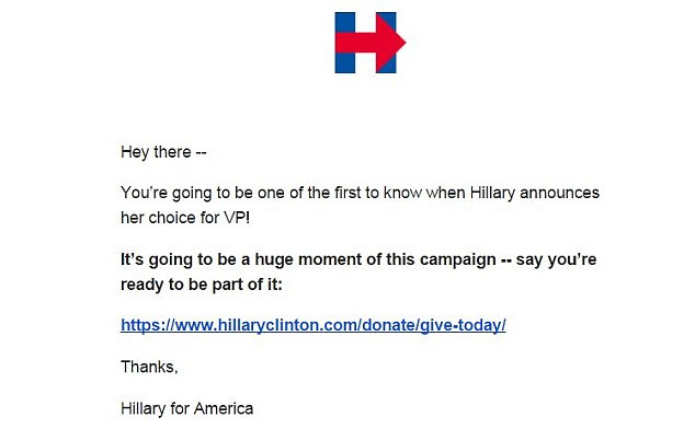 Clinton had teased the pick on Friday morning in a donation email to her supporters ---then nothing happened, jumpstarting speculation that she'd wait until Saturday