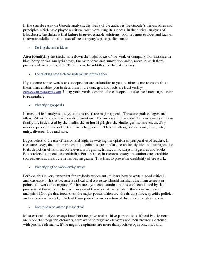 how to write a good analysis essay