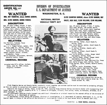Bonnie and Clyde's identification order