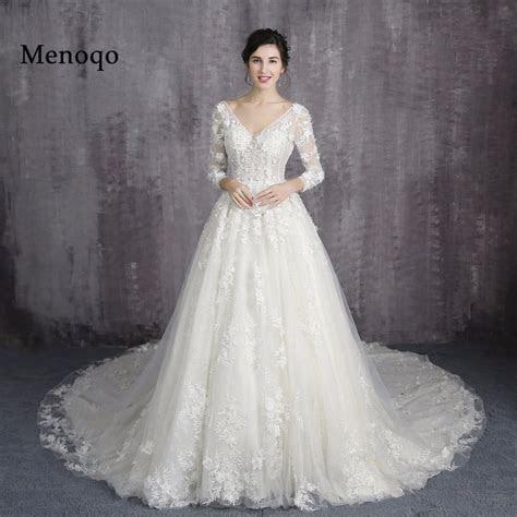 Menoqo lace up back 2018 A Line Wedding Dresses lace big