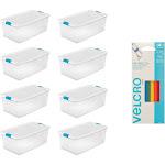 Sterilite 106 Qt Storage w/Lid (8 Pack) Bundled with VELCRO Brand Ties (5 Pack)