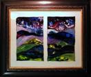'Cosmic Skies' by Karla Nolan, framed painting on glass