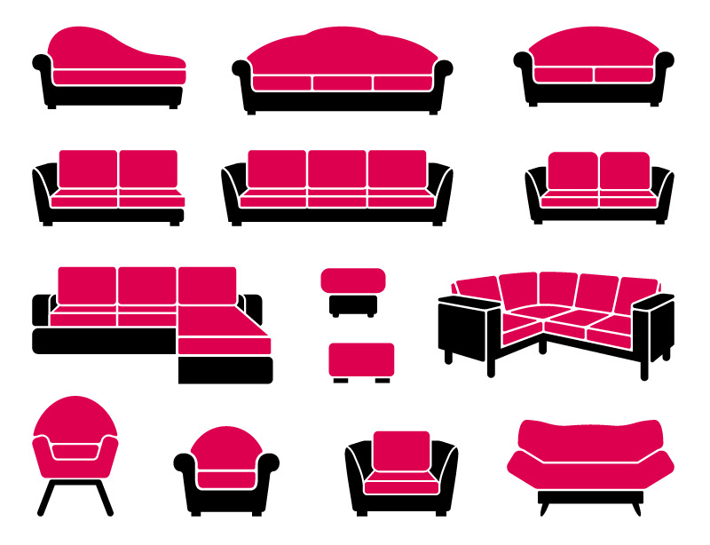 Simple Red Sofa Appearance Design Vector   Free Vector ...