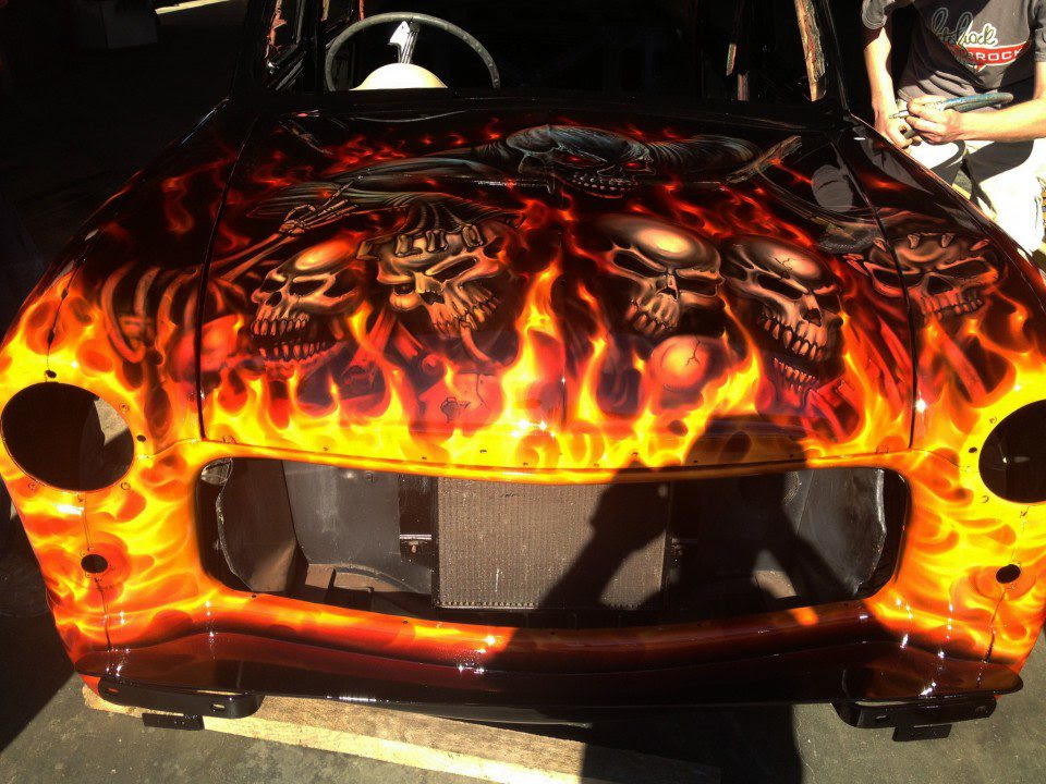 Flames And Skulls Ford Compact Airbrush Art Usa Professional
