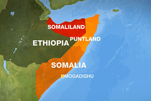 Areas shown on map of breakaway regions in northern Somalia known as Puntland. Explosions rocked the area on October 29, 2008. by Pan-African News Wire File Photos