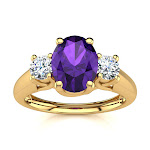 1 Carat Oval Shape Amethyst & Two 2 Diamond Ring in 14K Yellow Gold (2.2 g)