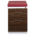 Hirsh Mobile 2-drawer File Cabinet Pedestal with Wood Front and Red Seat Cushion