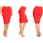 Women's Moa Collection High-Waist Solid Knee-Length Pencil Skirts Red Casual X-Large (12-14)