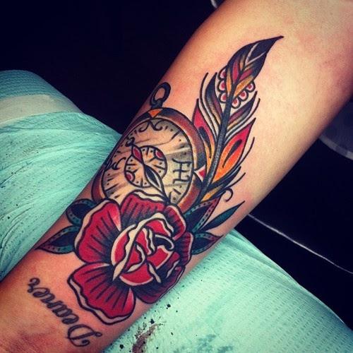 Clock And Rose Tattoo By Josh Stephens Tattoomagz