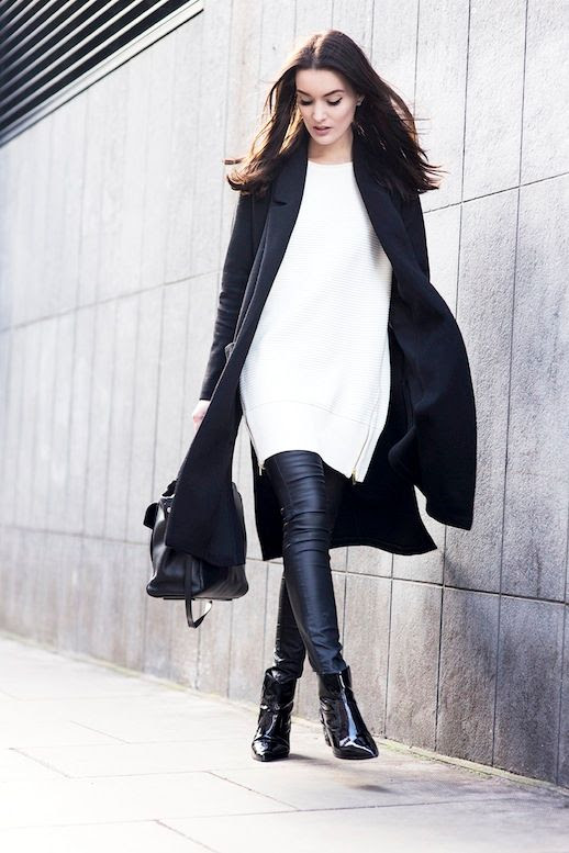 Le Fashion Blog Mid Length Coat White Side Zip Sweater Leather Pants Patent Boots Via Anouska