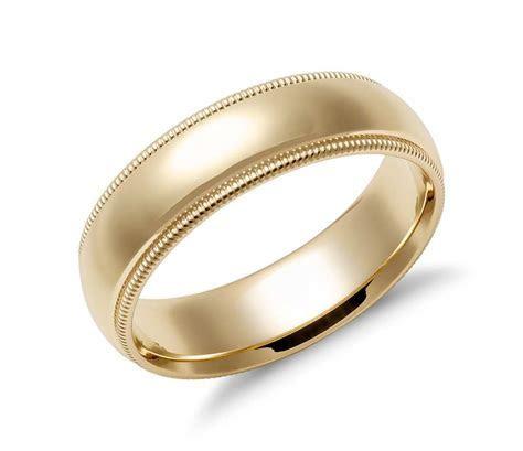 Milgrain Comfort Fit Wedding Ring in 14k Yellow Gold (6mm