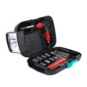 24-piece tool kit integrates flashlight
