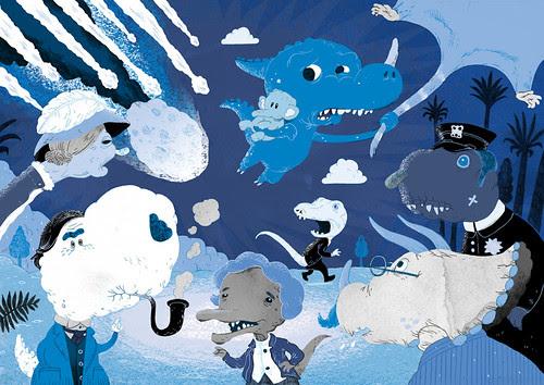 Blue dinosaur escapes