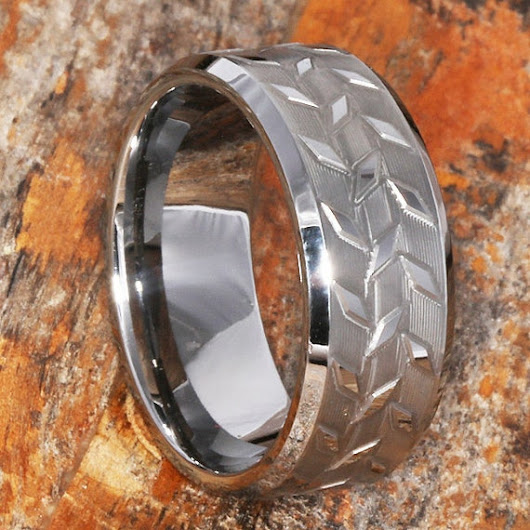 Custom Diamond Plate Wedding Band For Men Black Tungsten and