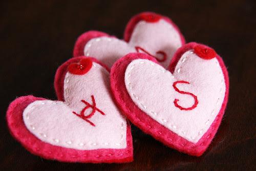 Felt Valentine's Heart badges
