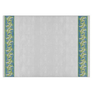 Pretty Cutting Board: Lilies of the Valley, Blue