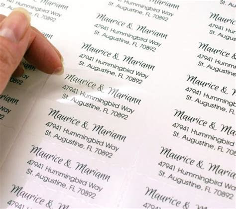 Custom Print CLEAR Return Address Labels For Wedding