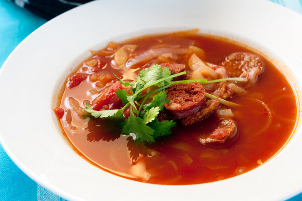 Spicy tomato soup with chorizo