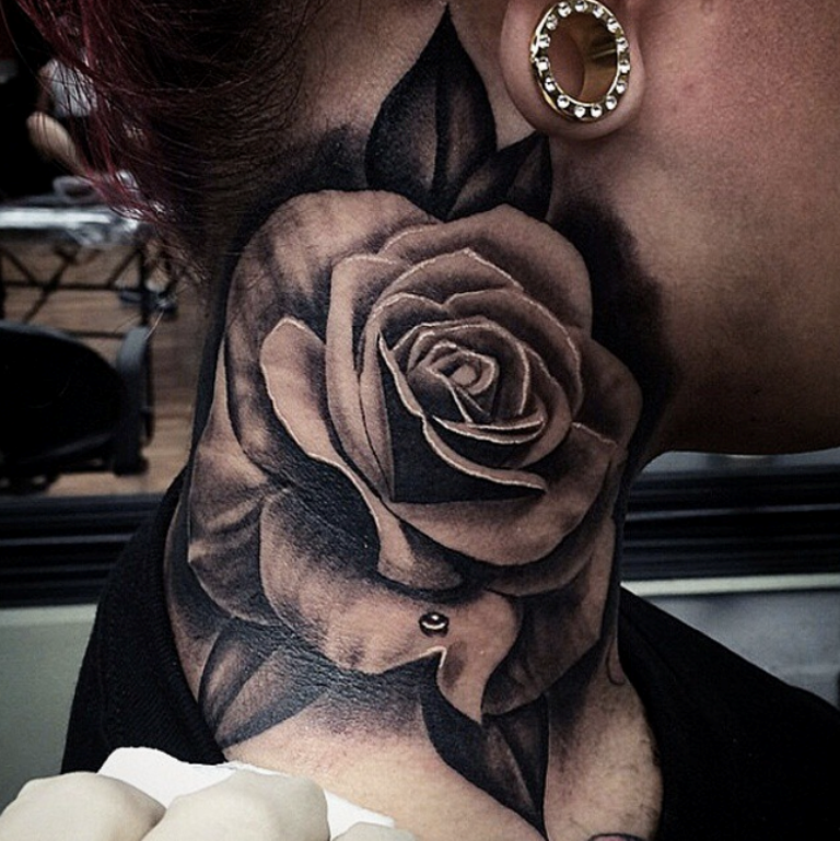 Black And Grey Rose Tattoo On Neck Tattoo Designs Tattoo Pictures
