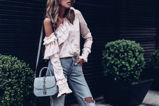 Le Fashion Blog Cold Shoulder Pink Ruffle Blouse Distressed Denim Via The Viva Luxury