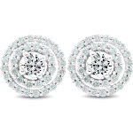 Pompeii 3 - 1Ct Genuine Diamond Double Halo Studs Screw Back Earrings White Gold 10.2MM