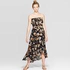 Women's Floral Print Wrap Front High Low Hem Skirt - Xhilaration Black