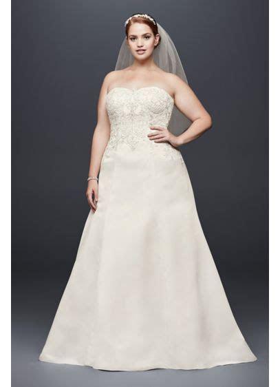 Satin Strapless A line Plus Size Wedding Dress   David's