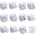 World Travel Adapter Set by Ceptics - 2 in 1 USA to Europe, Asia, Africa, India, Japan, Australia, Brazil, China, Israel and More - 11 Pack - Safe