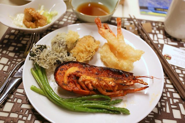 Lobster mentaiko, tempura and chicken nanban (upper left dish)