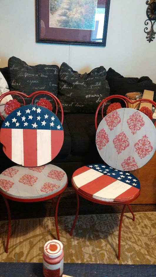 Wrought Iron Red Chairs For The 4Th Of July