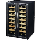 """NewAir AW-321ED 32-Bottle Dual Zone Wine Cooler - 20.5"""" - Stainless Steel/Black"""