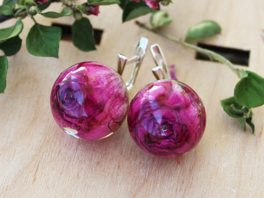 Real Rose earrings Resin jewelry Real flower earrings