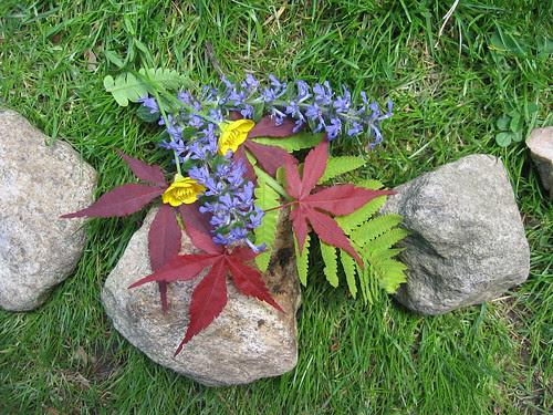 stones with wildflowers
