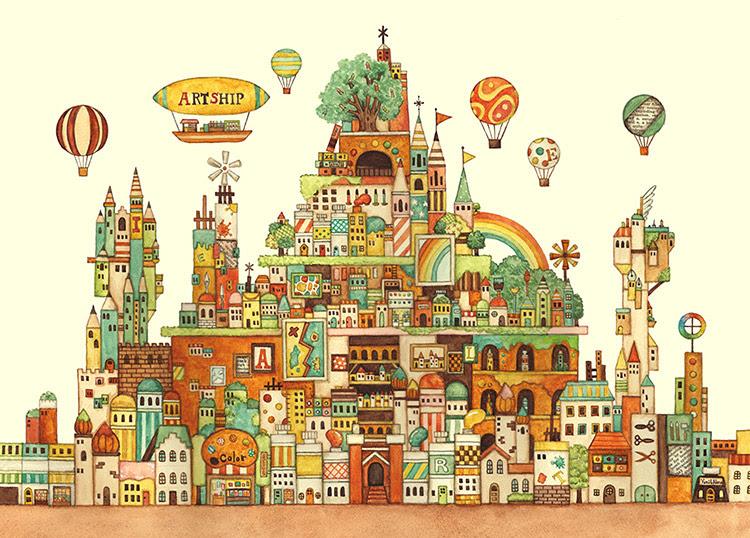 Epo 71 990s 西村典子 Art Puzzle Collection 空想の街 画材の王国 500