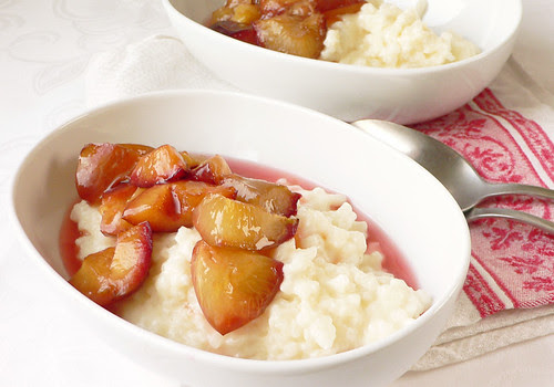 Baked Coconut Milk Risotto & Roasted Plums