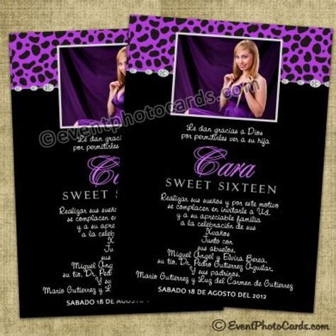Cool Quinceanera Purple Cheetah Photo Invites