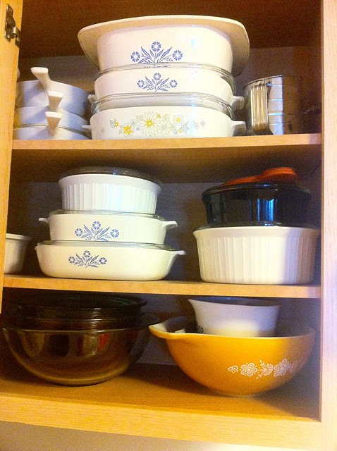 Corning Ware in Cabinet