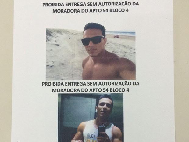 Folha com duas fotos de Anderson que a vítima deixou na portaria do prédio indicando que ele estava proibido de entrar no local (Foto: Glauco Araújo/G1)