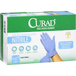 Medline Curad Latex-Free & Powder-Free Nitrile Gloves, One Size - 100 count