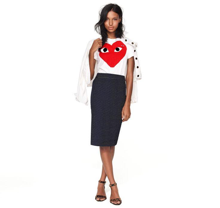 polka dot pencil skirt, graphic tee, strappy heels