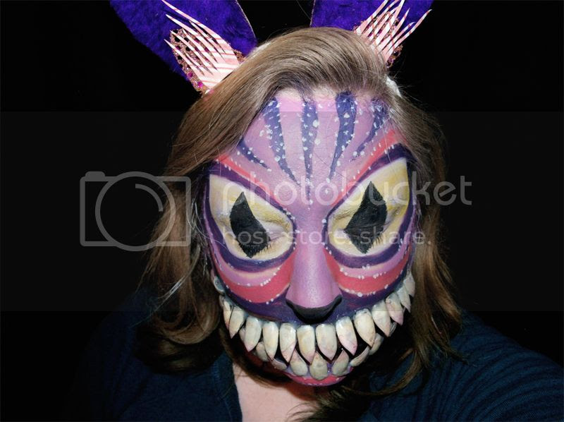 Cheshire Cat Halloween makeup tutorial, face painted, sfx, big fangs, prosthetics