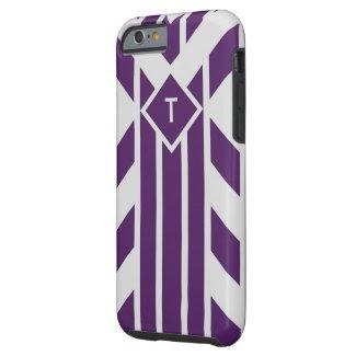 Purple & Grey Stripes, Parallelograms, Monogram Tough iPhone 6 Case