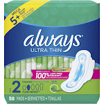 Always Ultra Thin Long Super Pads - 58ct
